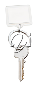one home key and square keychain on ring isolated on white background