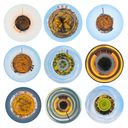 set of spherical panoramas with urban houses and woods on planet in autumn