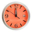one minute to twelve o'clock on orange dial isolated on white background