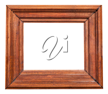 vintage painted wide wooden picture frame with cut out blank space isolated on white background