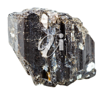 macro shooting of natural mineral stone - Schorl (black Tourmaline) crystal isolated on white background