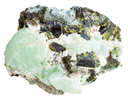 macro shooting of natural rock specimen - piece of Prehnite mineral stone with Epidote crystals isolated on white background