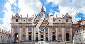 travel to Italy - front view of Papal Basilica of St Peter in Vatican city