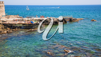 travel to Italy - urban beach in Syracuse city in Sicily in summer day