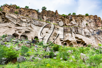 Travel to Turkey - carved in rocks caves in Ihlara Valley of Aksaray Province in Cappadocia in spring