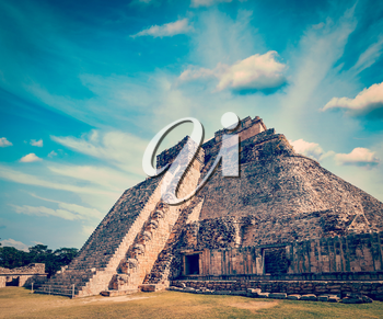 Vintage retro effect filtered hipster style image of anicent mayan pyramid in Uxmal, Mexico