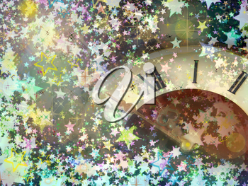 Clock face on multicolored shining stars background.Eve of new year.
