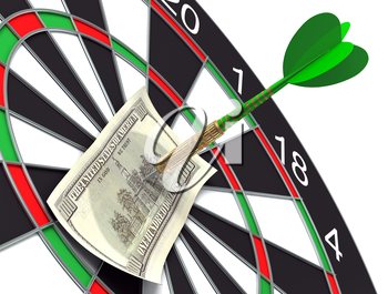 Darts target and 100 dollars in bull's-eye