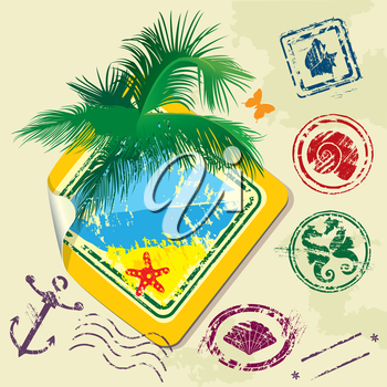Summer and travel stamps and sticker -  hand drawn collection