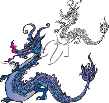 dragon (color and black and white picture)