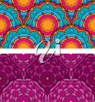 Set of 2 colorful seamless patterns with round ornaments, kaleidoscope floral backgrounds.