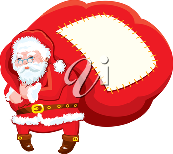 Cartoon Santa Claus with huge sack full of gifts - Christmas and New Year illustration isolated on white background. Empty space for text.