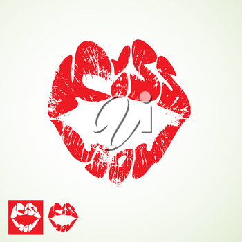 lips print  in shape of words KISS YOU - Valentines Day element