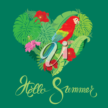 Seasonal card with Heart shape, palm trees leaves and Red Blue Macaw parrot. Handwritten calligraphic text Hello Summer. Element for travel and vacation design.