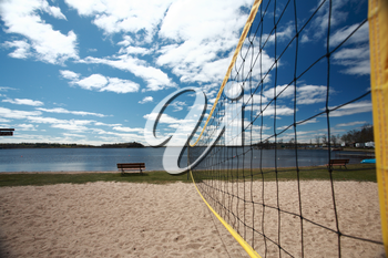Volleyball net at Grand Beach in Manitoba