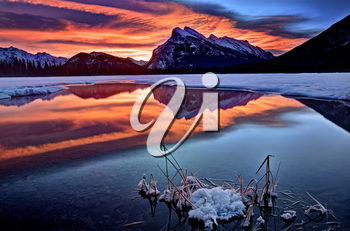 Mount Rundle Winter reflection sunrise majestic snow