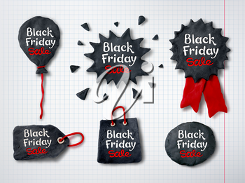 Vector set of hand made plasticine Black Friday banners with lettering on checkered paper background.