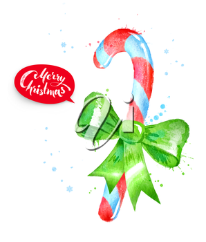 Watercolor illustration of Christmas candy cane with paint splashes.