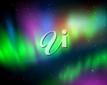 Vector illustration of northern lights background in green, cyan and magenta colors with stars.