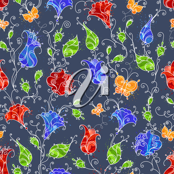 Four seamless textile or wallpaper patterns.