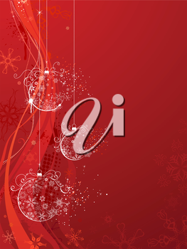 Vector background with Christmas balls of snowflakes on grunge waves background. There is copy space for your text.