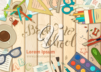 Education elements on wood background. Cartoon school supplies, colored pencils and paper, brush and paint, scissors and clips. Vector illustration.