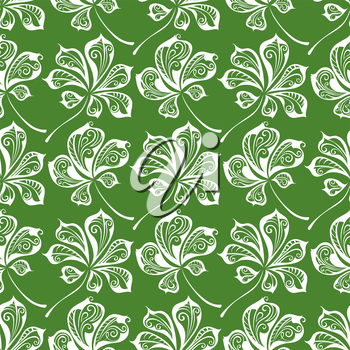 Hand-drawn green nature boundless background.