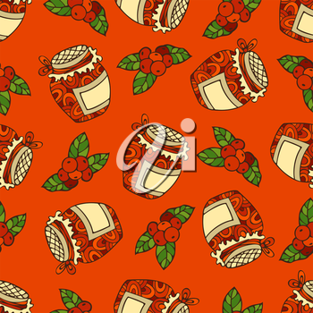 Cranberry and jam-jar. Thanksgiving day. Bright boundless background for your design. Harvest time.