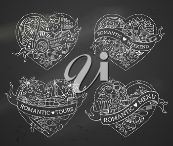 Chalk romantic design elements on blackboard background. Valentine's symbols, love icons and signs. Music, menu, tours and weekend templates.