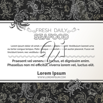 Seafood menu template on blackboard background. There is place for your text on white horizontal paper.