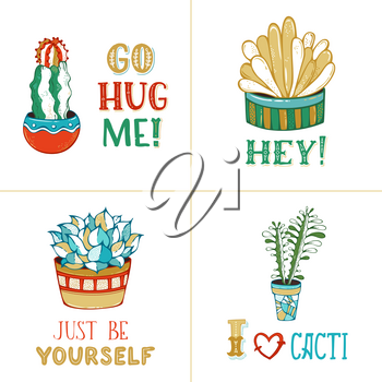 Cactus and succulent plants in flower pots on white background. With spines, flowers and without. Go hug me! Hey! Just be yourself. I like cacti.