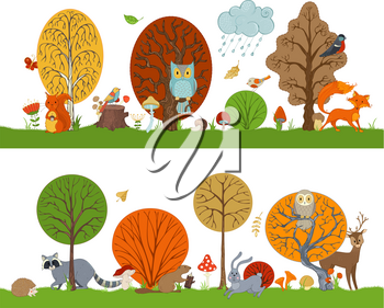 Hare, fox, beaver, squirrel, deer, raccoon, owl, hedgehog, mushrooms and flowers made in cartoon style. Autumn weather. Falling leaves.
