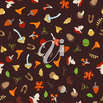 Tree branches, autumn leaves, edible and poisonous mushrooms, fir-cones, maple seeds, apples, rowan berries, flowers, acorns and chestnuts. Cartoon boundless background.