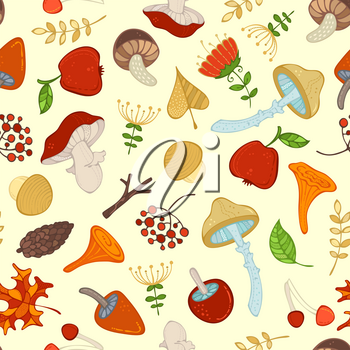 Cartoon mushrooms, fir-cones, apples, tree branches, leaves, rowan berries and flowers. Woodland boundless background.