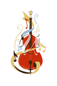 Cello flat vector illustration. Violoncello and notes isolated clipart. Classical music concert, symphony orchestra show. Bowed string musical instrument, musician professional equipment