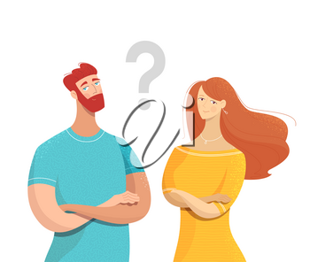 Couple with question mark flat vector illustration. Uncertainty in relationship. Cartoon friends, colleagues sharing secret isolated characters. Bearded man, cute lady with crossed arms gesture