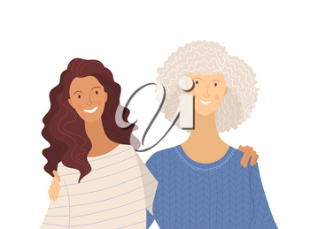 Granddaughter and grandma flat vector illustration. Positive emotions, relationship. Smiling young and senior women, cartoon characters isolated on white background