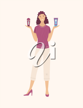 Young woman choosing between skincare cosmetic products cartoon illustration. Smiling girl comparing professional and budget lotions for body / shampoos for hair / creams for face. Vector flat concept
