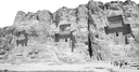 blur in iran near persepolis the old ruins historical destination monuments and mountain