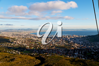 in south africa cape town city skyline from table mountain sky ocean and house