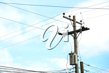 blur  in  philippines   a electric pole with transformer and wire  the cloudy sky