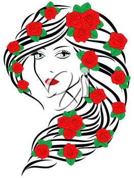 Beautiful fashionable young women portrait with red roses on hair over white, sketching vector illustration