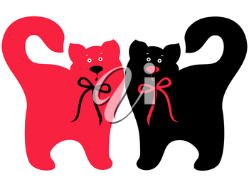 Two elegant cats with ties, Red and Black symmetrically standing, hand drawing vector artwork