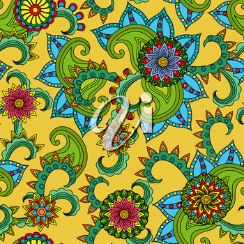 Seamless vector colourful pattern with beautiful flowers on the yellow background