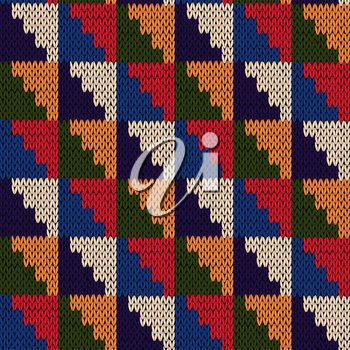 Knitted motley geometric background in blue, red, green, orange and beige colors, seamless knitting vector pattern as a fabric texture