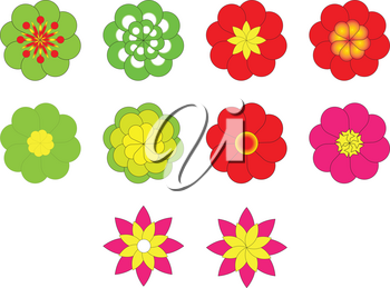 collection of flowers icon vector