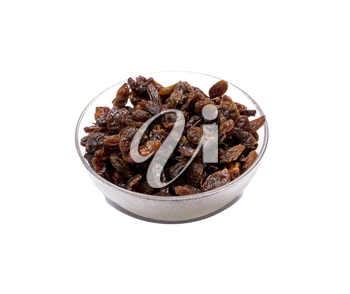 the transparent bowl filled with raisin, isolate, a subject food