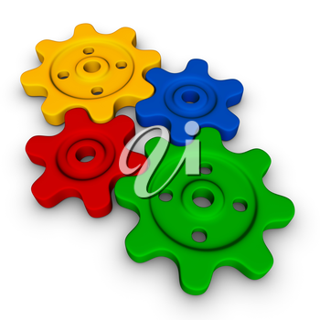 four gears (colorful symbol set)