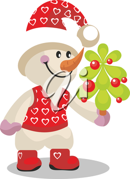 Royalty Free Clipart Image of a Snowman holding a Tree