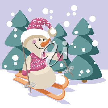 Royalty Free Clipart Image of a Skiing Snowman
